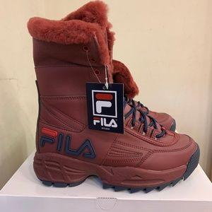 Women's Fila Disruptor Boot Red Navy Faux Fur